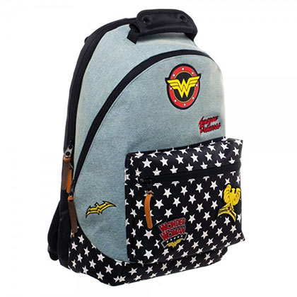 e6d16ed3fd Wonder Woman Patches Denim Zip Backpack