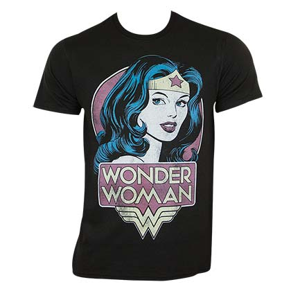 Wonder Woman Men's Black Retro T-Shirt
