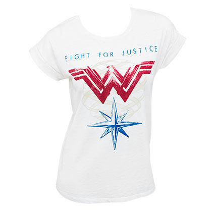 Wonder Woman Ladies White Rolled Sleeve Fight For Justice T-Shirt