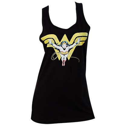 Wonder Woman Comic Flying Over Logo Black Womens Tank Top