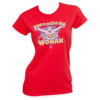 Wonder Woman Junior's Red Flying Through T-Shirt