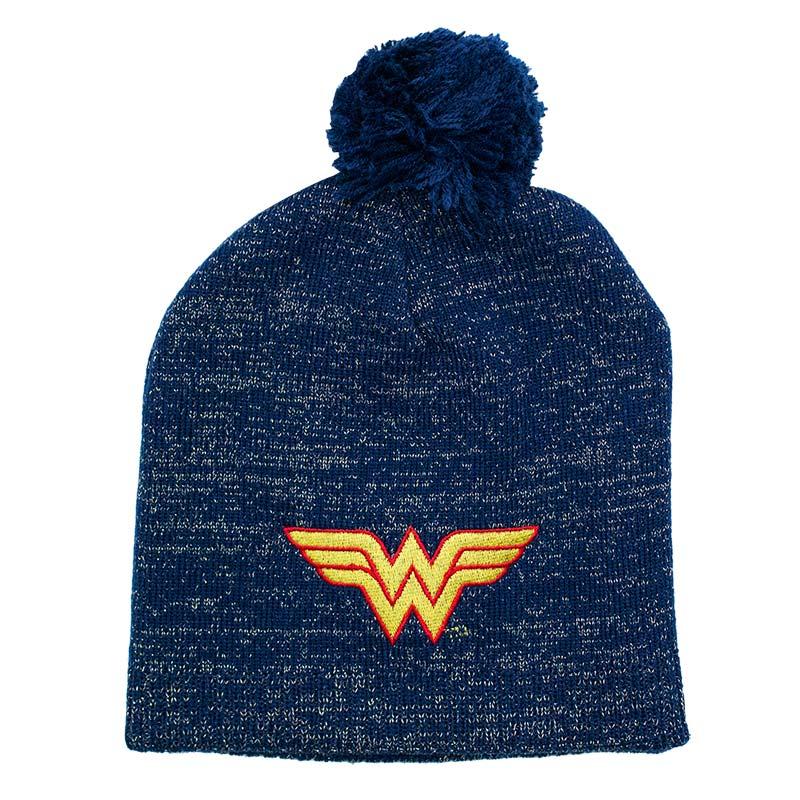 Wonder Woman Logo Winter Pom Glitter Beanie