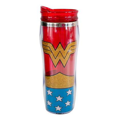 Wonder Woman Curved Plastic Glitter Travel Mug