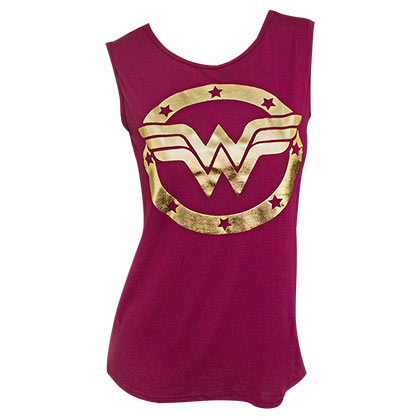 Wonder Woman Metallic Gold Logo Women's Red Muscle Tank Top