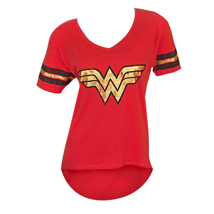 Wonder Woman Juniors Red Foil Logo T-Shirt