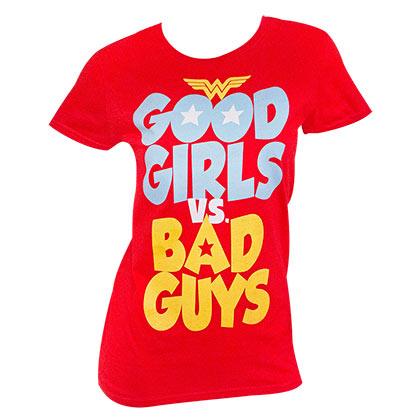 Wonder Woman Ladies Red Good Girls Vs. Bad Guys T-Shirt