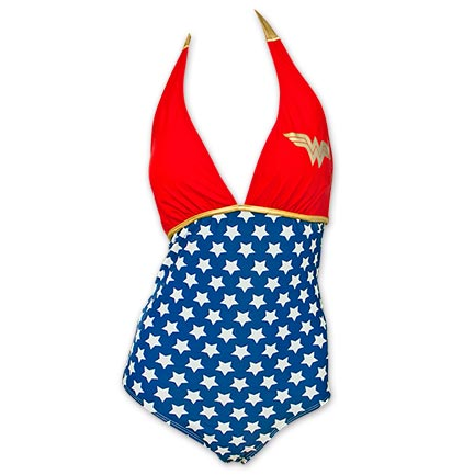 Wonder Woman Halter Plunge One Piece Women's Bikini