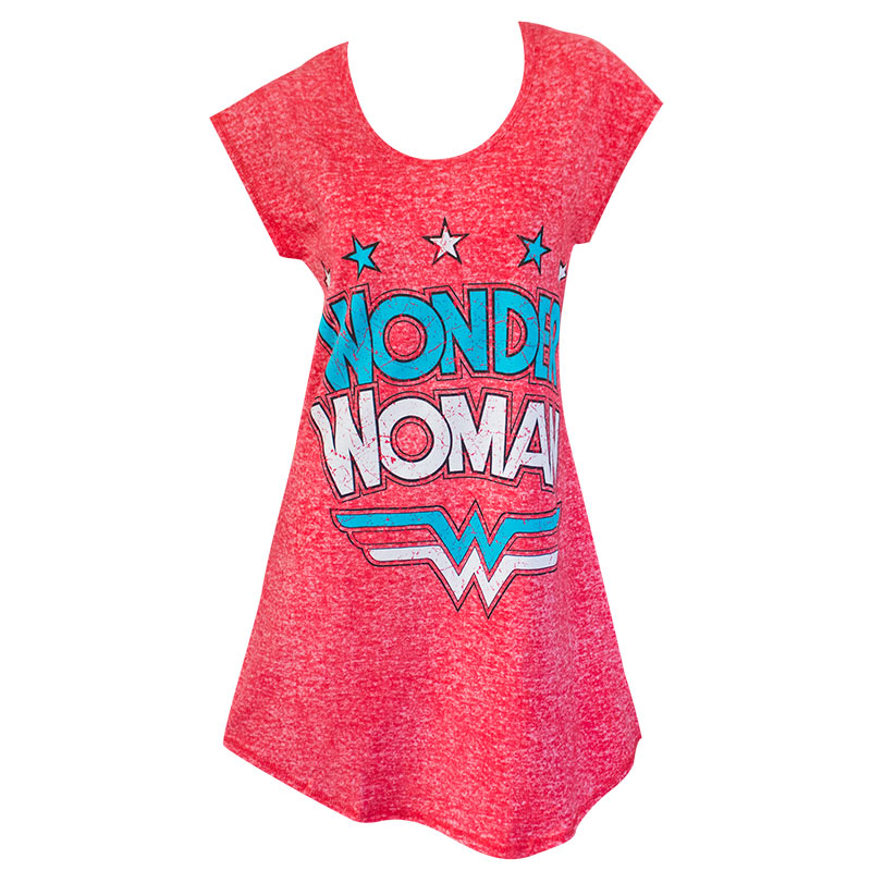 Wonder Woman Faded Women's Heather Red Night Shirt