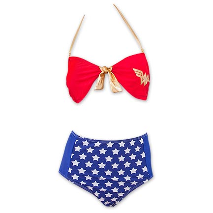 Wonder Woman Front Tie Bandeau Women's High Waist Bikini