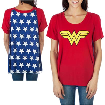Wonder Woman Ladies Red Interchangeable Cape Costume T-Shirt