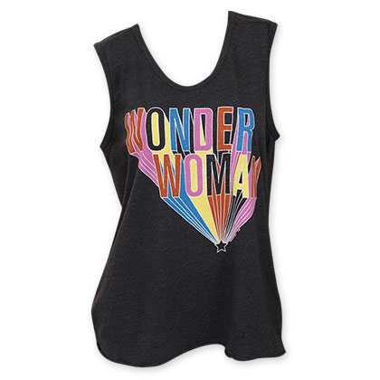 Junk Food Wonder Woman Women's V Neck Black Tank Top