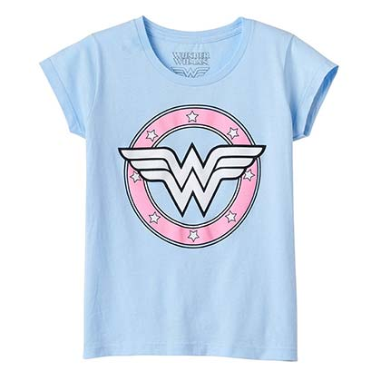Wonder Woman Youth Girl's Light Blue Tee Shirt