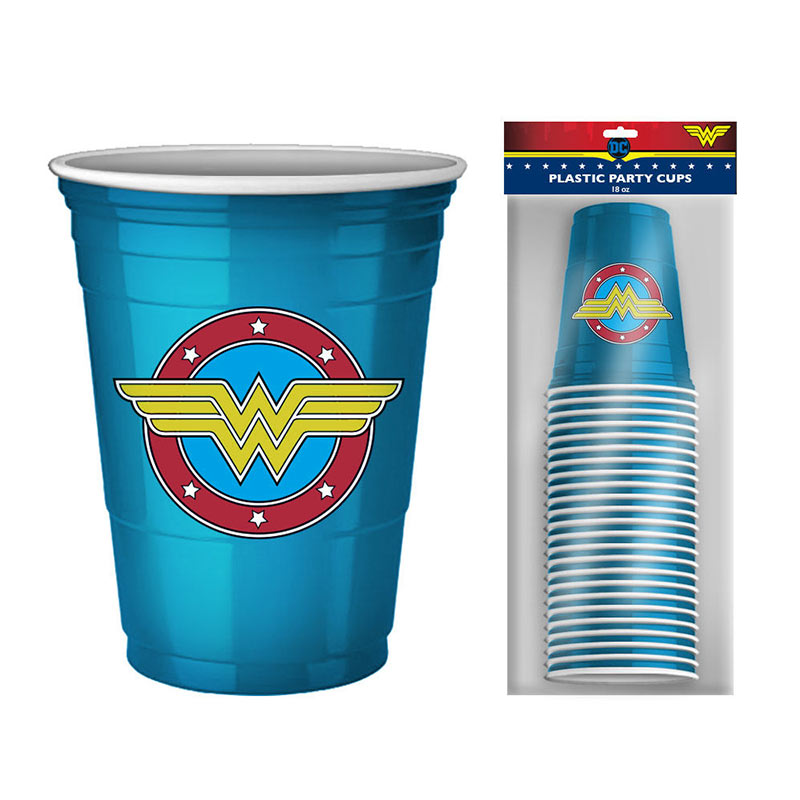 Wonder Woman 20 Pack Blue Disposable Logo Cups