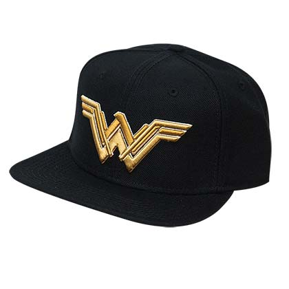Wonder Woman Embroidered Superhero Logo Black Snapback Hat
