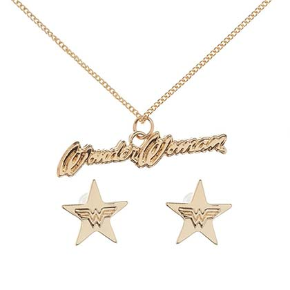 Wonder Woman Logo Necklace & Earring Gift Set