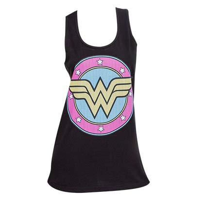 Wonder Women Comic Logo Black Tank