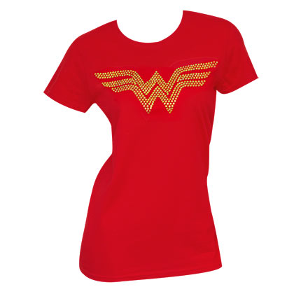 Women's Wonder Woman Gold Rhinestones Logo Tee Shirt