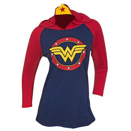 Wonder Woman Ladies Raglan Tiara Hoodie