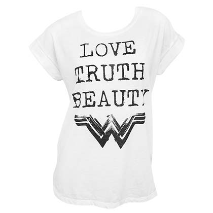 Wonder Woman Truth Love Beauty White Tee Shirt