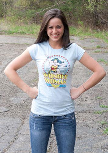 bc67cbb9883 Wonder Woman Star Of Paradise Blue Ladies Graphic Tee Shirt ...