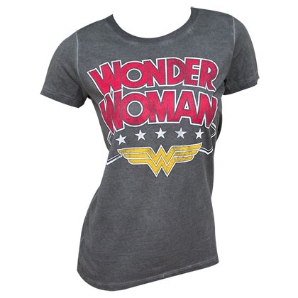 Wonder Woman Ladies Grey Oil Wash T-Shirt