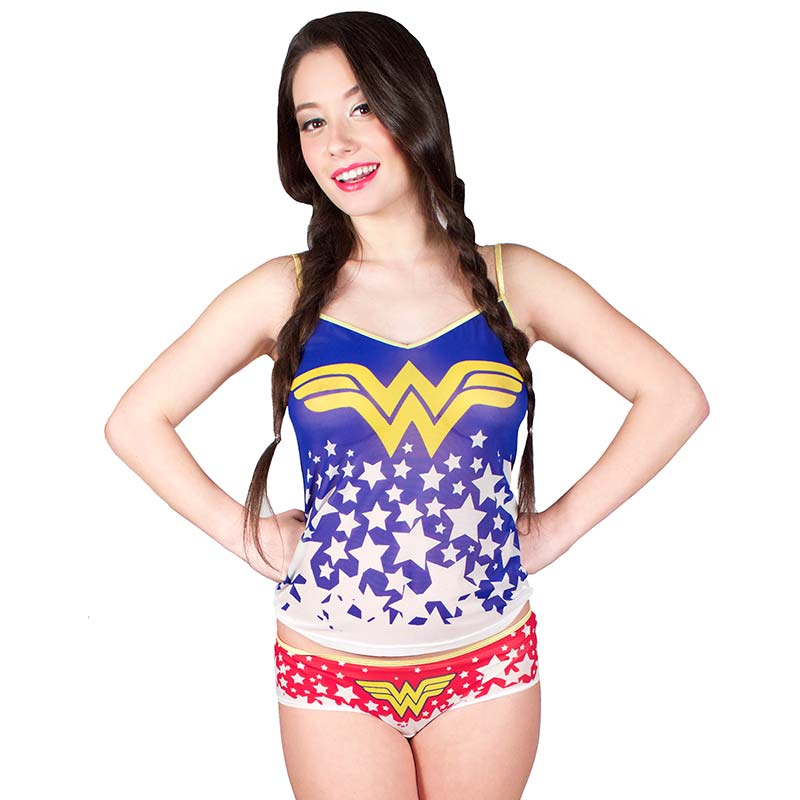 Wonder Woman Superhero Cami And Panty Mesh Sleep Set
