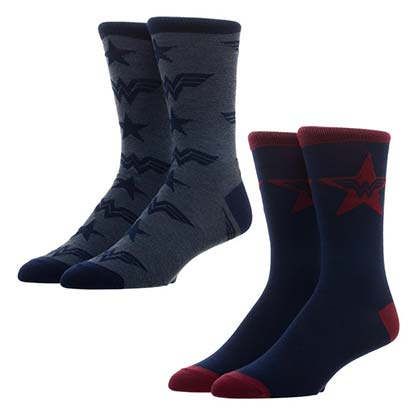 Wonder Woman Logos Men's Crew Socks Set Of 2