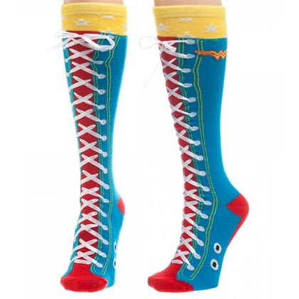 DC Comics Wonder Woman Knee High Blue Faux Lace Up Socks