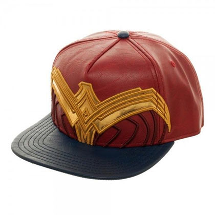 Wonder Woman Red Pleather Logo Snapback Hat