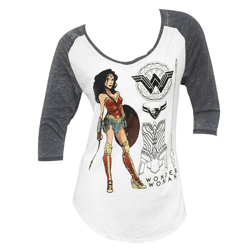 Wonder Woman Women's Raglan V-Neck T-Shirt