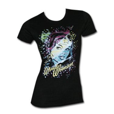 Wonder Woman Color Stars Black Womens Graphic TShirt