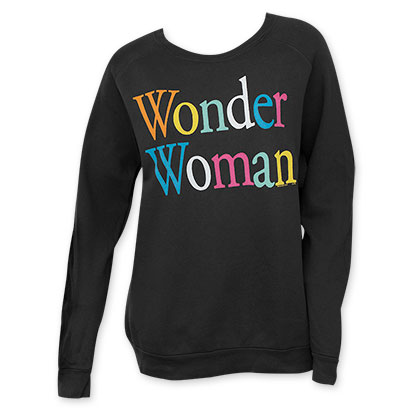 Junk Food Women's Black Wonder Woman Rainbow Letter Crew Neck
