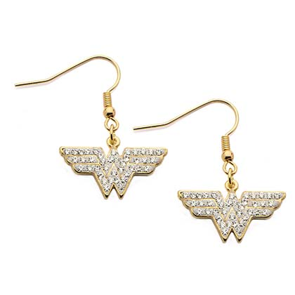 Wonder Woman Cubic Zirconium Dangle Hook Earrings