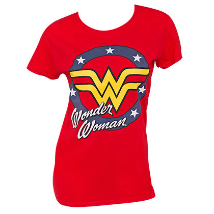 Wonder Woman Ladies Red Classic Logo T-Shirt