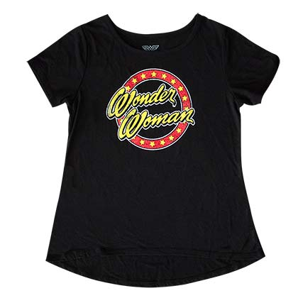 Wonder Woman Glitter Logo Girls 7-16 Youth Black Tee Shirt