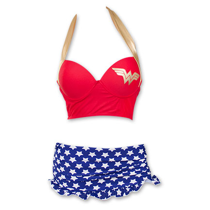 Wonder Woman Underwire Bustier Ruffle Skirt Bikini