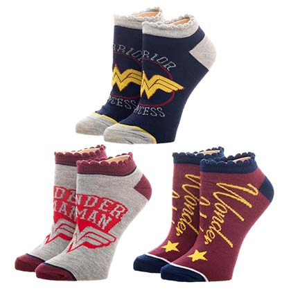 Wonder Woman 3 Pack Women's Scalloped Ankle Socks