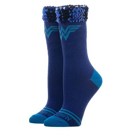 Wonder Woman Sequin Blue Juniors Socks