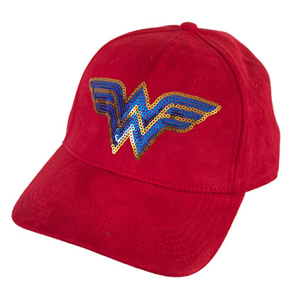 Wonder Woman Red Adjustable Sequin Logo Suede Hat