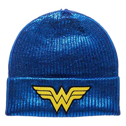 Wonder Woman Logo Winter Metallic Blue Beanie