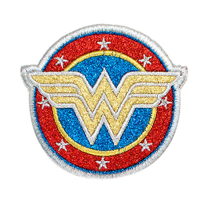 Wonder Woman Silver Logo Glitter Patch
