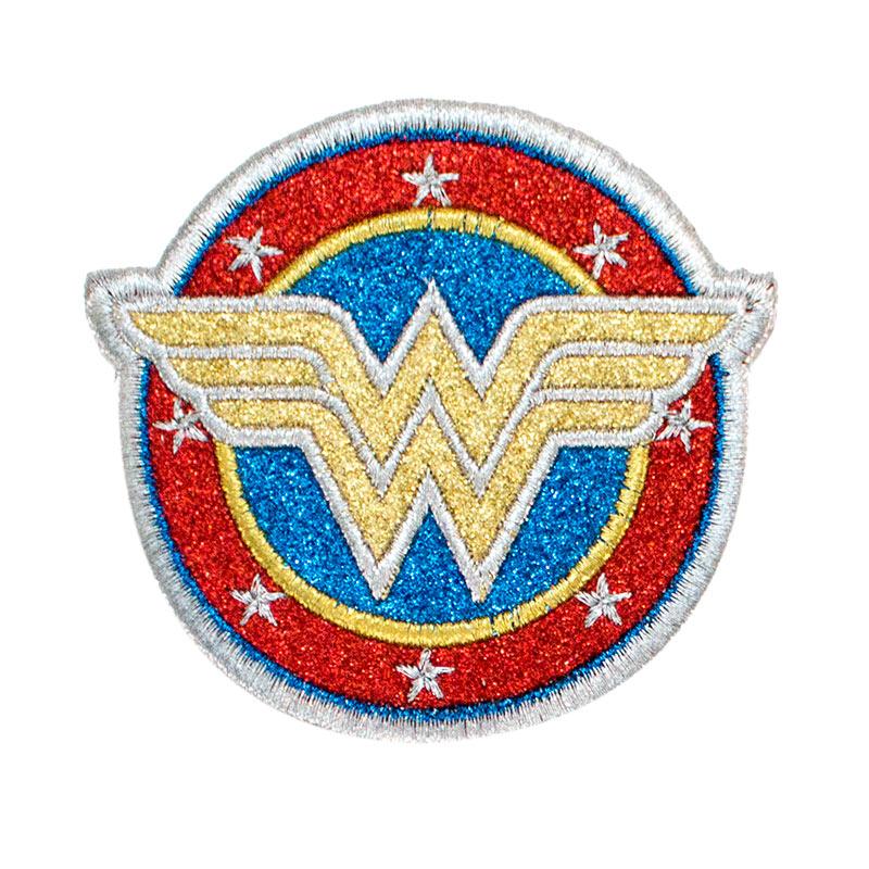 Wonder Woman Silver Logo Glitter Patch