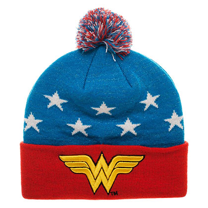 Wonder Woman Star Print Embroidered Winter Pom Beanie