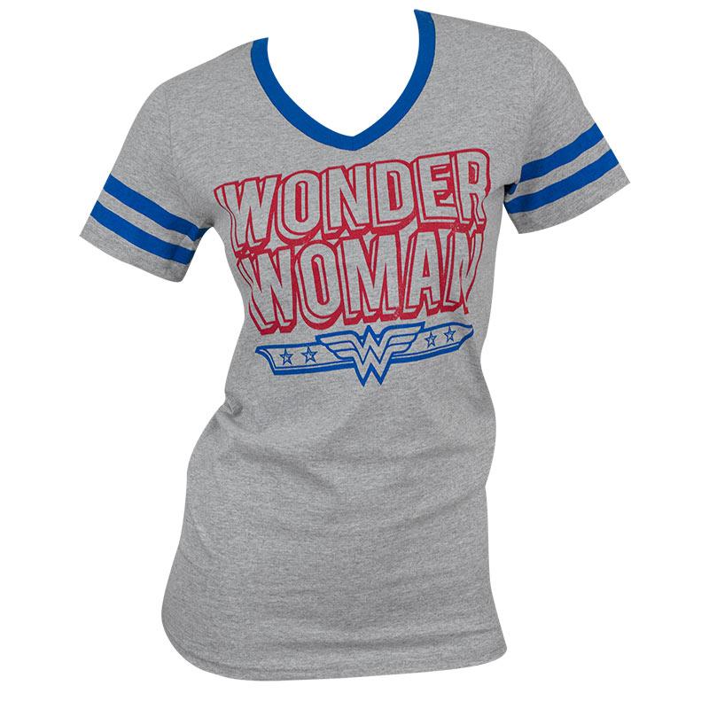 Wonder Woman Grey Striped V-Neck T-Shirt