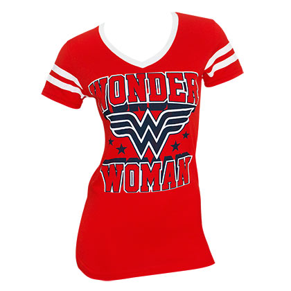 Wonder Woman Women's Red Striped Sleeve V-Neck T-Shirt