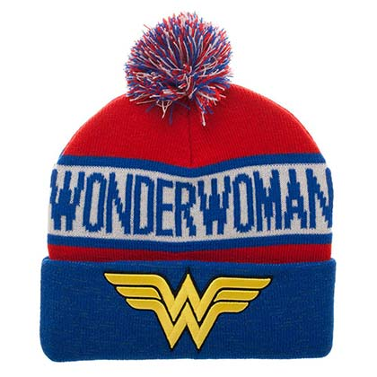 Wonder Woman Reflective Cuff Winter Pom Beanie