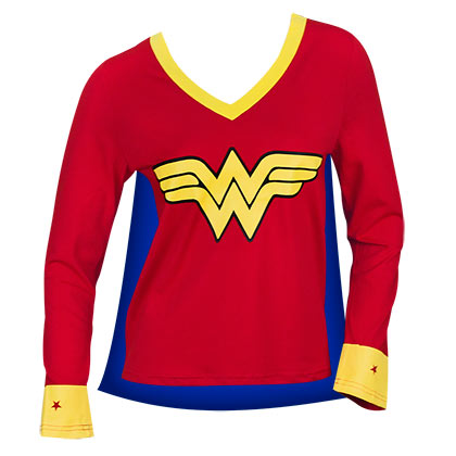 Wonder Woman Juniors Red Caped Varsity T-Shirt