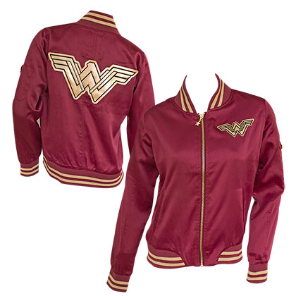 Wonder Woman Burgundy Bomber Jacket