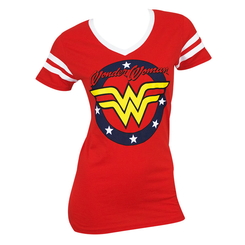 Wonder Woman Round Crest Logo Women's V-Neck Tshirt