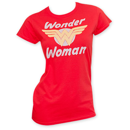 Wonder Woman Red Junior's Golden Logo Tee Shirt